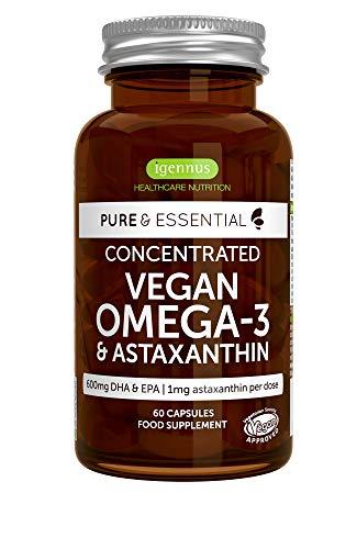 Pure & Essential Veganes Omega-3, 1340mg Algenöl & Astaxanthin, 600mg DHA & EPA aus Mikroalgen, vegan, 60 Kapseln