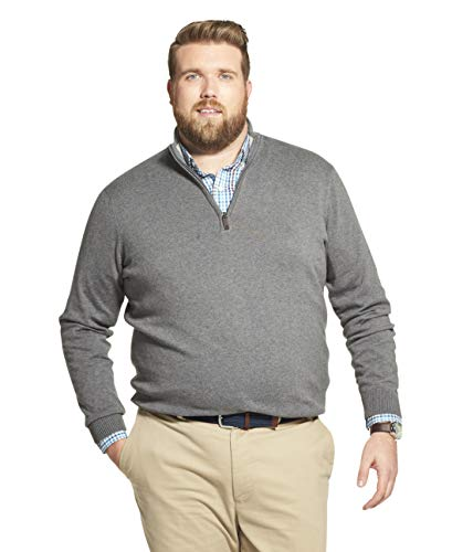 IZOD Men's Big and Tall Premium Essentials Quarter Zip Solid 12 Gauge Sweater, CARBON HEATHER, 2X-Large