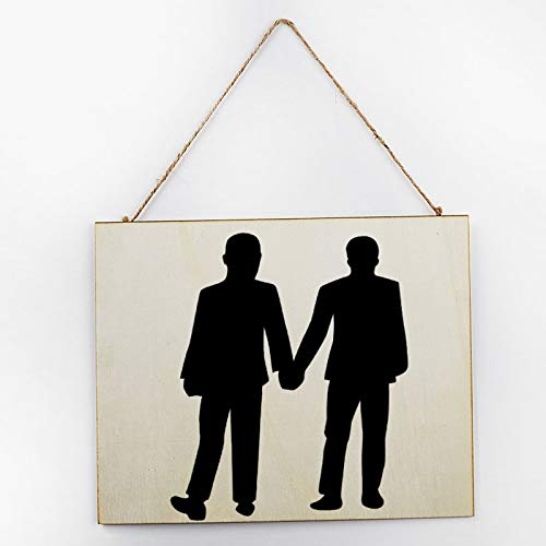 Vintage Large Wooden Hand Painted Sign Plaque Gift Kitchen Living Room Decor Handmade by Vintage Product Designer Gay Valentines Couple Men Hand in Hand Love You Pattern