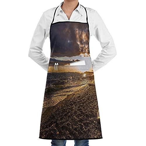 FAKAINU Delantal de cocina,Playa Noroeste Atardecer Islas San Juan Anacortes Skagit Driftwood Nubes Paisaje,Apto para restaurantes, delantales impermeables y antiincrustantes.