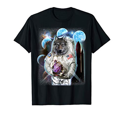 Commander Wolf in Astronaut Suit, Space Shuttle Moon T-Shirt