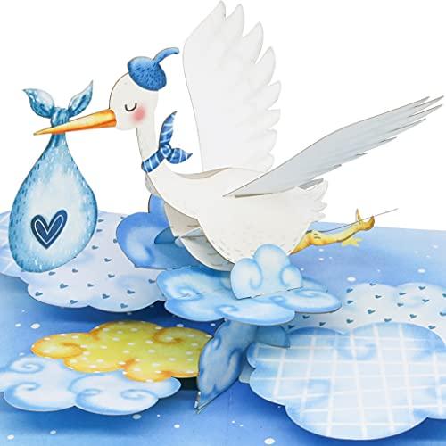 LIEBESSA 3D Pop Up Karte Gratulation zur Jungen-Geburt (Baby), Glückwunschkarte Sohn, Junge, Boy, Geburtskarte, Handgemachte 3D Babykarte Blau-Storch