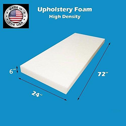 FoamWorld Upholstery Foam Cushion High Density, 6' H x 24' W x 72' L
