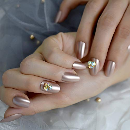 Meiyy nageldecoratie, prachtige nagels, champagne, 3D-design, strass, kunstnagels, normale grootte, metaal, ovaal, custom tips L5180