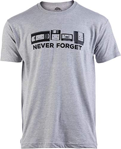 Never Forget   Funny Nerd Humor Nostalgia Old 1990s 90s 1980s 80s Joke Fun T-Shirt-(Adult,L)