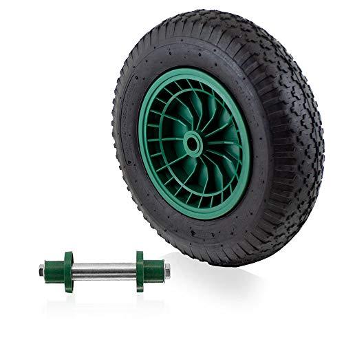 BITUXX Ersatzrad Schubkarrenrad Schubkarre Rad Reifen Luftrad Luftbereifung Felge 4.80/4.00 max 250Kg mit Stahlachse 130mm (1 Rad + Achse)