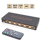 Awakelion 4K@60Hz 5x1 HDMI Switch 5 Entrées 1 Sortie Switch HDMI Commutateur Compatible pour Une télécommande à Distance avec Infrarouge HDCP 2.2 UHD,HDR,Full HD/3D