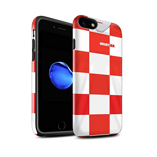 Stuff4 Glanz Harten Stoßfest Hülle/Case für Apple iPhone 8 / Kroatien/Kroatisch Muster/Weltmeisterschaft 2018 Fußball Trikot Kollektion