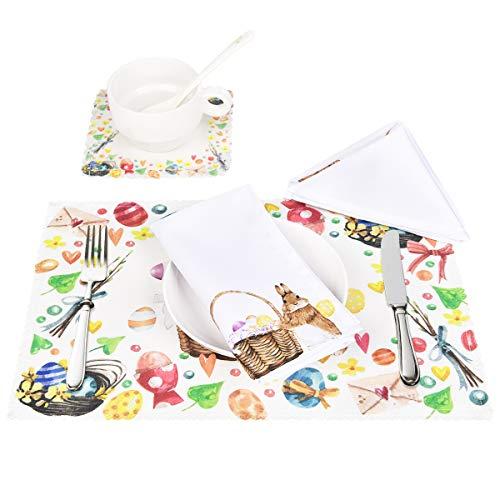 Sunm Boutique 4 Set Hitzebeständige Ostern Tischsets mit Untersetzer Serviette Platzdeckchen, rutschfest Waschbar Baumwolle Polyster, Bunt