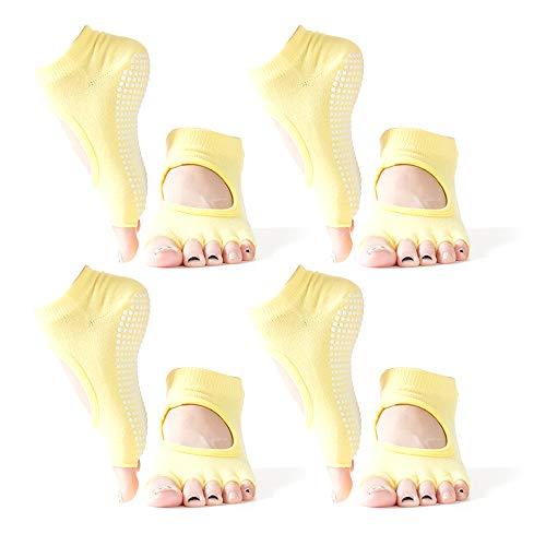 LXZH Calcetines de yoga para mujeres y hombres, antideslizantes sin dedos de los pies, ballet, pilates, barra, algodón peinado, paquete de 4, amarillo, L