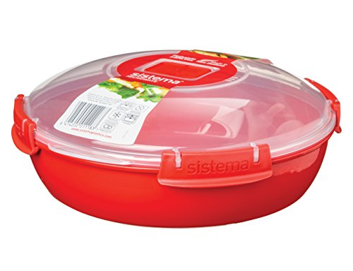 Sistema Microwave Collection, Round Dish, Red, 43.6 Ounce (Pack of 1)