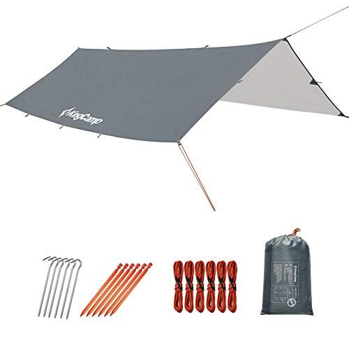 KingCamp Tienda de campaña Tarp Impermeable 300x300 / 400 / 500cm Refugio para Acampar Anti-UV para Hamaca Rain Fly Ligero para Camping Senderismo Viajar Supervivencia Mochilero