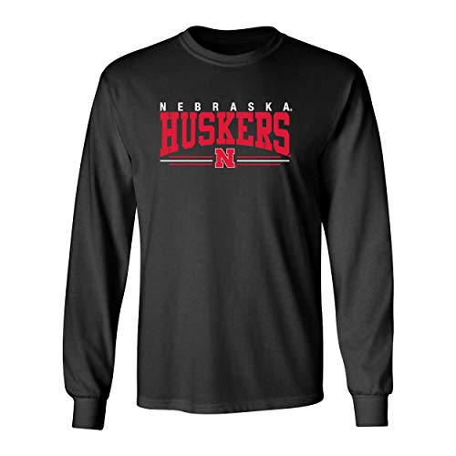 CornBorn Nebraska Huskers Tee Shirt - Long Sleeve Nebraska Huskers Stripe N - Black - XL