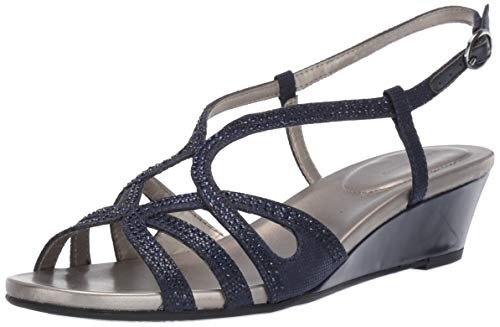 Bandolino Women's Gyala Wedge Sandal, Navy, 9.5