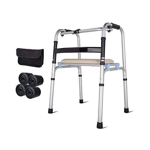 DGEMF Rollstuhl Höhenverstellbarer Rollstuhl für ältere Menschen mit Behinderungen Leichtes Rohrbiegemaschinen-Gehgestell,Withoutwheels