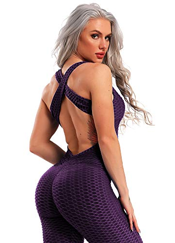 INSTINNCT Damen Sport Rückenfrei Jumpsuit Yoga Bodysuit Overall Leggings Sporthosen Bandage Playsuits Jogging Strampler Hosenanzug Trainingsanzug #1 Lila Medium