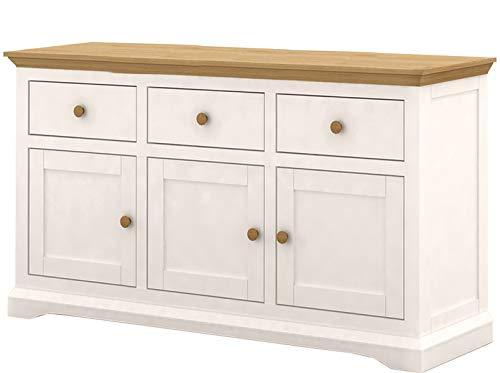Loft24 Sideboard Landhaus Küche Kommode Anrichte Schrank Schubladenschrank Küchenschrank 160x42x85,5 cm 3 Schubladen MDF Creme