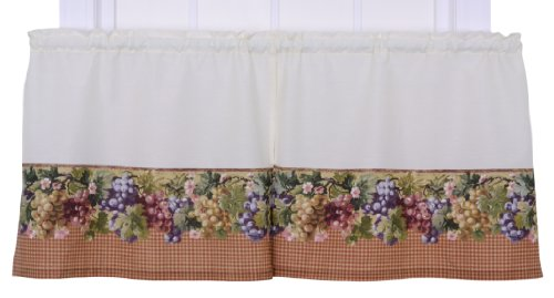 Ellis Curtain Kitchen Collection Tuscan Hills Grapes 60 by 36-Inch Tailored Tier Curtains, Natural