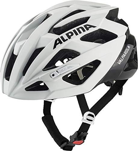 ALPINA VALPAROLA Fahrradhelm, Unisex– Erwachsene, white-black, 55-59