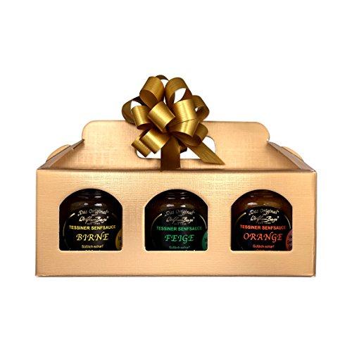 Geschenkbox: Original Tessiner Senfsauce Set: 3 Gläser á 200ml in einer Geschenkbox (Variante 1)