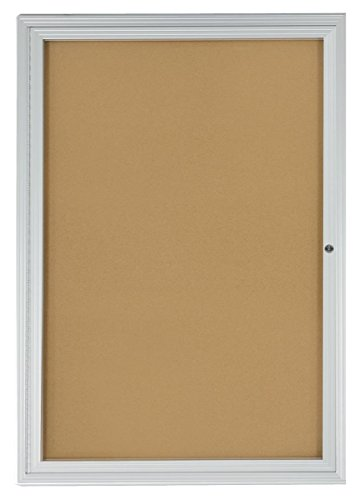 Displays2go 2x3 Foot Cork Enclosed Bulletin Board, 24 x 36 Inch with Hinged Door, Aluminum (LCRKSF2436)