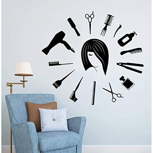 GUDOJK Muursticker Barbershop Gereedschap Muursticker Klok Vorm Haar Knip Muursticker Haar Studio Decoratie Barbers Wall Window Art Poster