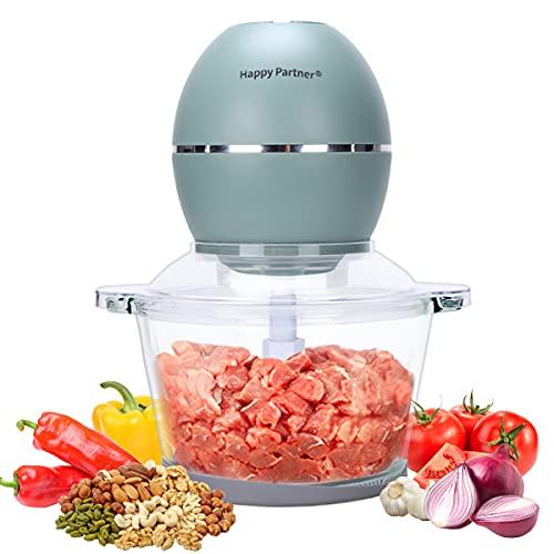 Zerkleinerer Multi Zerkleinerer Küche Elektrisch 250 Kraftvoller Motor, Universalzerkleinerer Glasbehälter, Glas Food Processor, 4-flügeliges Spezialmesser aus Edelstahl, 2 Liter