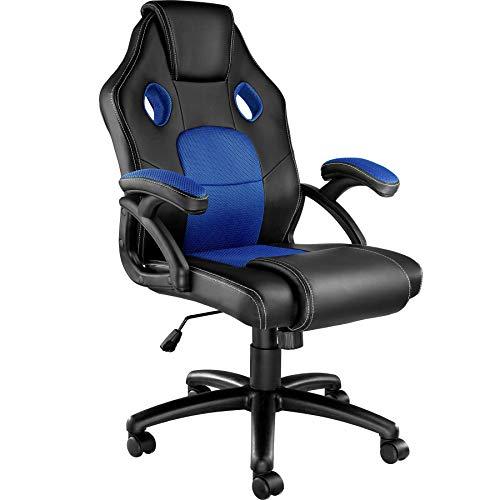 TecTake 800770 Racing Bürostuhl, Gaming Stuhl mit Wippmechanik, Kunstleder Chefsessel Drehstuhl, höhenverstellbarer Schreibtischstuhl, ergonomisch - Diverse Farben - (Schwarz-Blau | Nr. 403453)