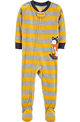 Toddler Boy's Husky Sled Dog Striped Fleece Footed Pajama Sleeper (4T) Yellow, Gray