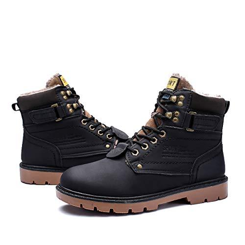 gracosy Uomo Stivaletti da Trekking Pelle più Velluto Neve Boots Invernali Delicatamente Morbido di Piatto Sneaker Outdoor Nero Marrone Giallo