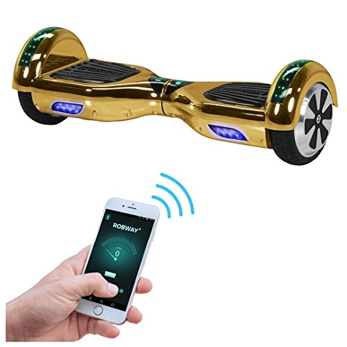 Robway W1 Hoverboard - Das Original - Samsung Marken Akku - Self Balance - 22 Farben - Bluetooth - 2 x 350 Watt Motoren - App - Led (Gold Chrom)