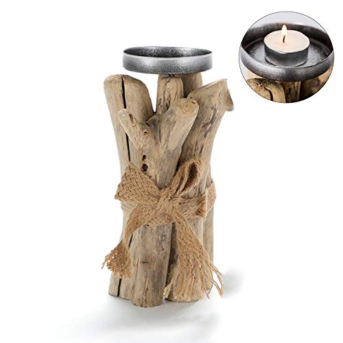 Handmade Wooden Candle Holders for Table, Tea Light Art Votive Unique Candle Holder, Natural Driftwood Christmas Tree, Wooden Pile Decoration Candlestick Ornaments for Home Decor, Desktop Decoration