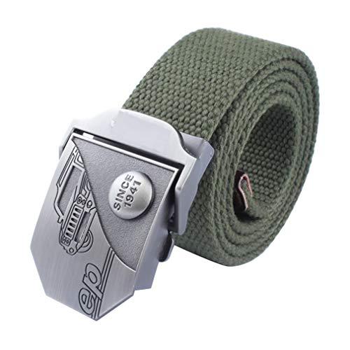 LKMY Cinturón de lona para hombre, estilo militar con hebilla de metal, para hombre