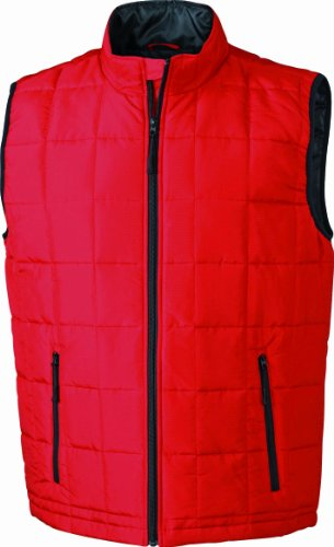 JAMES & NICHOLSON Steppweste Padded Light Weight Veste sans Manche, Rouge (Red/Black), (Taille Fabricant: XXX-Large) Homme
