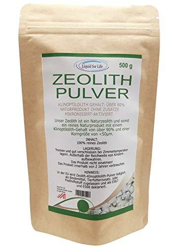 LIQUID FOR LIFE ® - Zeolith Klinoptilolith Pulver - tribomechanisch mikronisiert & aktiviert fein gemahlen in Premium Qualität, ohne Zusätze, naturbelassenes reines Vulkangestein (Zeolith Pulver 500g)