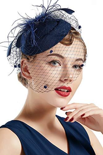 Coucoland Feder Fascinators Hut Damen Blumen Mesh Elegant Hochzeit Fascinator Haarreif Cocktail Tee Party Accessoires (Navy Blau)