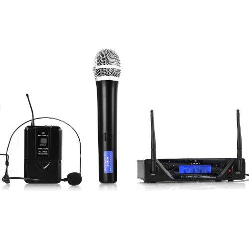 Malone UHF-450 Duo juego de micrófonos inalámbricos (UHF, 2 canales, un micrófono de mano, un micrófono de cabeza, batería de larga duración, maleta de transporte incluida)