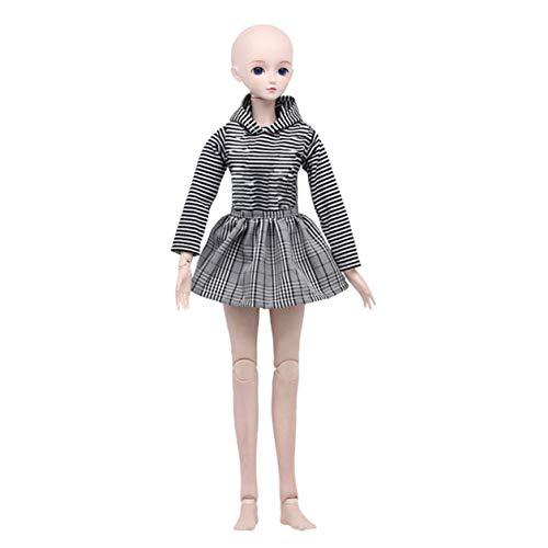 Jilibaba Puppenkleidung, Hemdstrumpfhalter, Schottenrock, Trägerkleid, Outfit, Kleidungsset für 60 cm 1/3 BJD Puppenanzug Geschenk