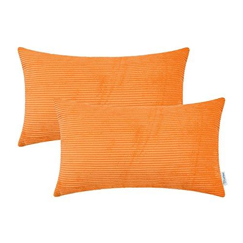 CaliTime Kissenbezüge Kissenhülle 2er-Pack Cozy Bolster Kissenbezüge Taschen für Sofabetten-Sofa Ultra-Soft-Cord Gestreift Beide Seiten 30cm x 50cm Hellorange