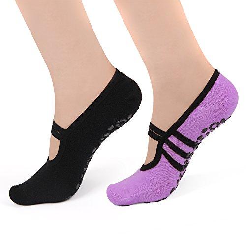 Calcetines de yoga antideslizantes para mujer con puños y zapatos de ballet, 2...