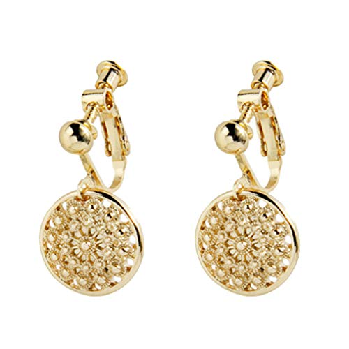 Geometric Clip on Earrings Round Flower Coin Gold Colour Dangle Statement Jewellery for Girls Women