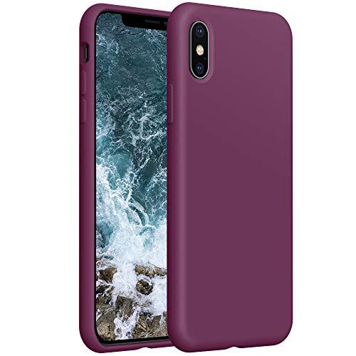 YATWIN Compatibile con Cover iPhone XS Max, Custodia per iPhone XS Max Silicone Liquido, Protezione Completa del Corpo con Fodera in Microfibra, Compatibile con iPhone XS Max 6,5'', Vino Rosso