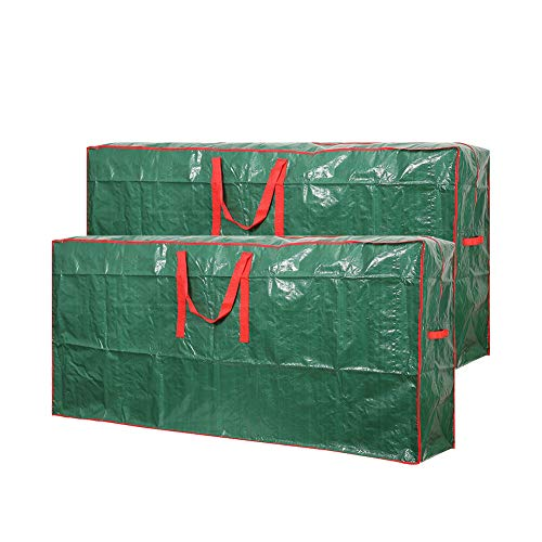 Christmas Tree Storage Bag- 2 pack - Fits Up to 9 ft Xmas Disassembled Trees with Durable Reinforced Handles & Dual Zipper -Waterproof Material Protects from Dust,Moisture & Insects (Green, 9ft)