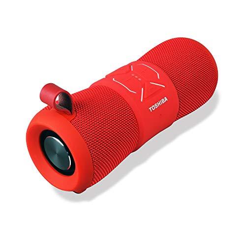 Toshiba Bluetooth Speaker | Wireless Speaker with Bluetooth Tech | 9+ Hour Battery Life | Built in Microphone | Portable Speaker w/Deep Base Tech is Waterproof, Dustproof & Sandproof | TY-WSP200(R)