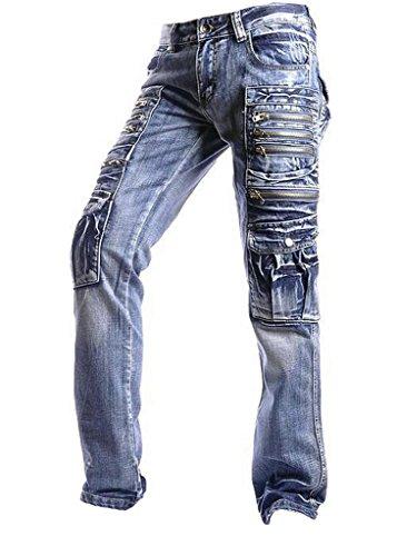jeansian Men's Casual Denim Long Straight Leg Pants Jeans J002 W30