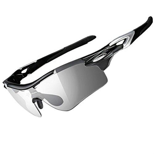 ROCKBROS Occhiali Ciclismo da Sole Sportivi con Lenti Fotocromatiche Lenti Pesca Polarizzati Ultra-Leggeri Protezione UV 400