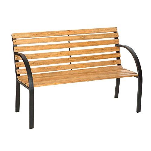 LD tuinbank eucalyptus houten tuinmeubelen parkeerbank zitbank metaal hardhout
