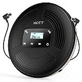 HOTT CD903TF CD Player tragbar wiederaufladbarer CD Player Bluetooth mit FM-Transmitter geeignet für Reise, Haus und Auto, mit Stereo-Headset und Stoßschutzfunktion (schwarz)
