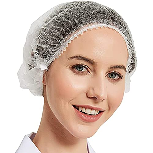 100 unidades desechables no tejidas Bouffant Cap Red Cap con banda elástica para el servicio de alimentos de peluquería Tattoo (21 pulgadas, blanco)