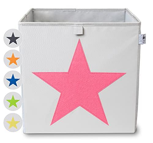 wonneklein AUFBEWAHRUNGSBOX STERN I extra stabile Box (33x33x33 cm) zur Aufbewahrung im Würfelregal im Kinderzimmer, Jugendzimmer, Wohnzimmer I graue Spielzeugkiste mit Filz Stern (pink)